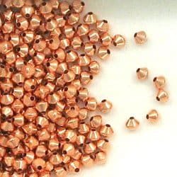 Solid Copper 3.3 mm Bicone Spacer Beads