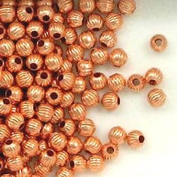 Solid Copper 4mm Corrugated Round Spacer Beads