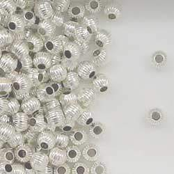 Sterling Silver 4mm Corrugated Round Spacer Beads