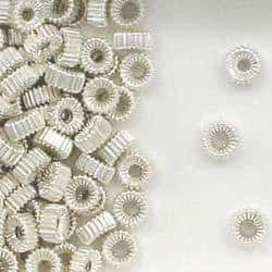 Sterling Silver 4mm Corrugated Tire Beads,