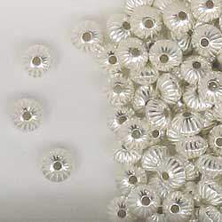 Sterling Silver 6mm Corrugated Rondelle Beads