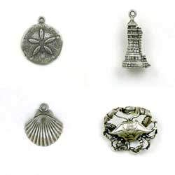 Sterling Silver Seashore Charms for Gifts or Memorabilia