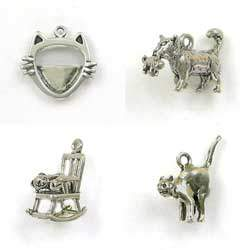 Sterling Silver Cat & Feline Charms for Bracelets or Keepsakes