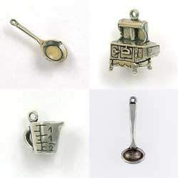 Sterling Silver Cooking Charms for Jewelry Designs