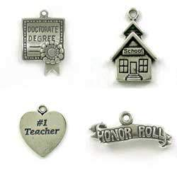 Sterling Silver Education Charms for Bracelets or Necklaces