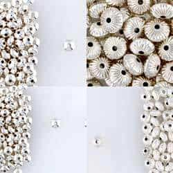 Sterling Silver Rondelle Corrugated & Plain Beads for Jewelry Designs