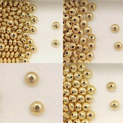 14K Gold Filled Plain & Corrugated Roundel Beads