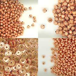 Solid Copper Bi-cone, Donut and Disc Accent or Spacer Beads