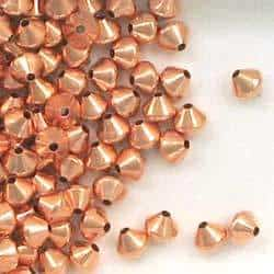 Solid Copper 5mm Bicone Spacer Beads
