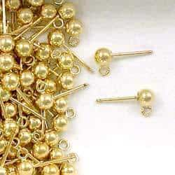 14K Gold Filled 4mm Ball Post with Ring