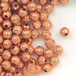 Solid Copper 4.8mm Corrugated Round Spacer Beads