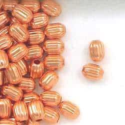 Solid Copper 4.7x 6.5mm Corrugated Barrel Beads