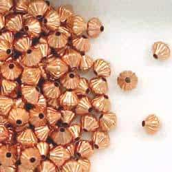 Solid Copper 5mm Bicone Corrugated Beads