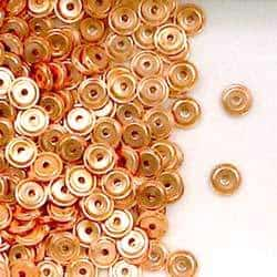 Solid Copper 4.3mm Round Flat Ridge Disc Spacer Beads