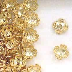 14K Gold Filled 7mm Flower Design Bead Caps