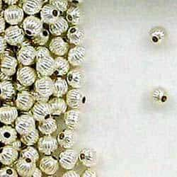 Sterling Silver 8mm Corrugated Round Beads