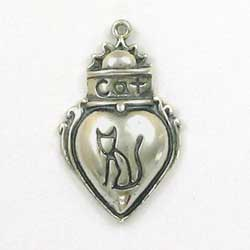 Sterling Silver Cat Heart Charm