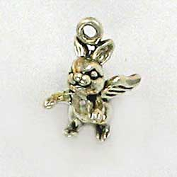 Sterling Silver 3-D Bunny Rabbit With Wings Charm