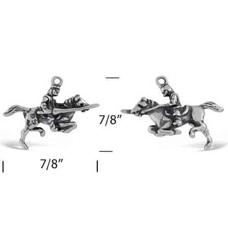 knight on a horse charm meassurements