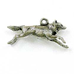 Sterling Silver 3-D Running Wolf Charm