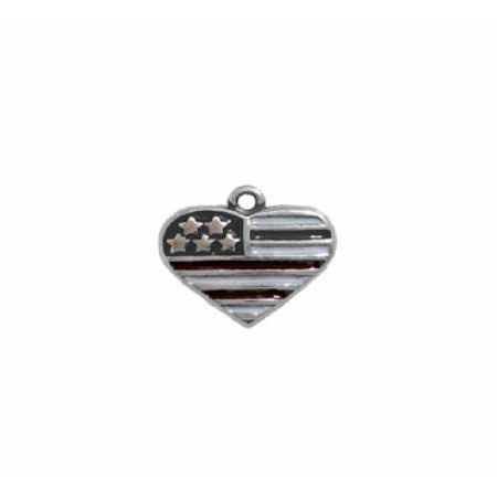 American Flag Heart Charm
