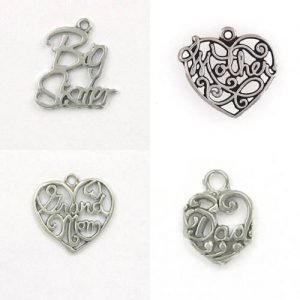 Sterling Heart & Family Charms for Memories or Gifts