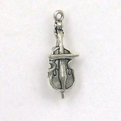Sterling Silver 3-D Cello Charm