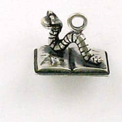 Sterling Silver 3-D Bookworm Charm