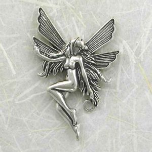 Sterling Silver 39mm Fairy Pendant