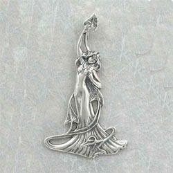 Sterling Silver Art Nouveau Lily Lady Pendant
