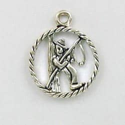 """Sterling Silver """"Gone Fishing"""" Charm"""