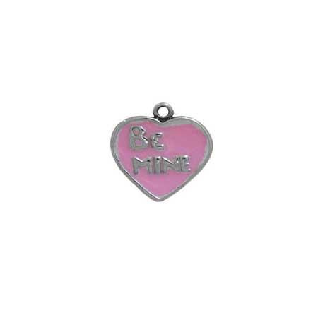 Enameled Valentine Be Mine Heart Charm