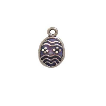 Purple Enameled Easter Egg Charm