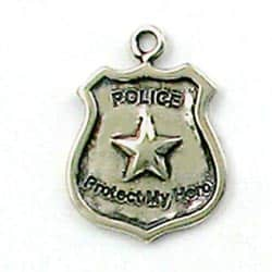 """Sterling Silver """"Protect my hero"""" Police Badge Charm"""