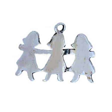 """Girl Paper Dolls Charm. Detailed sterling silver casting, made in the USA, 7/8"""" x 3/4"""" , 3-D casting. Feedback received includes looks exactly like the picture. A wonderful addition to your Holiday or child themed bracelet or jewelry collection."""
