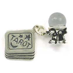 Sterling Silver 3-D Movable Tarot Card with Crystal Ball Charm