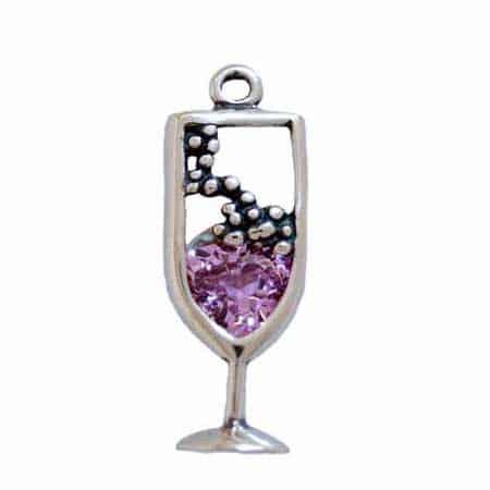CZ Pink Champagne Glass Charm