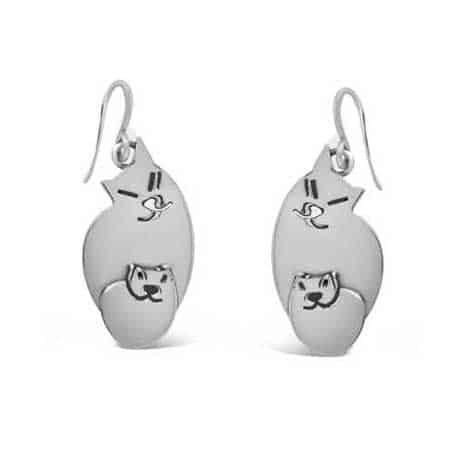 mom kitten earrings