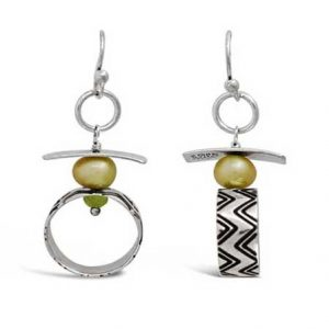 dangle earrings periodot pearl accents