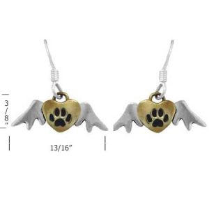 winged dog paw earrings measurement