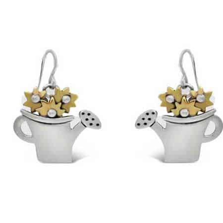 blooming watering can dangle earrings far fetched