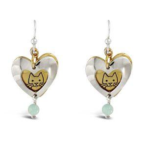 Cat Heart Dangle Earrings Far Fetched
