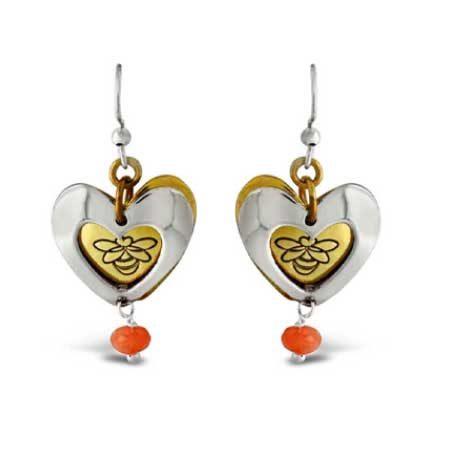 Bee Heart Dangle Earrings