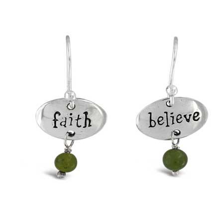 Faith Believe Gemstone earrings