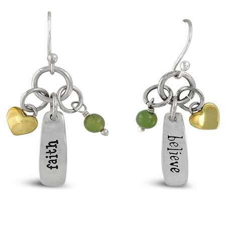 Faith Believe Story Dangle Earrings