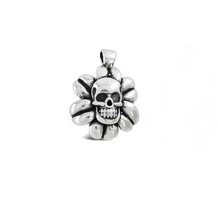 Skull with Leaves Pendant